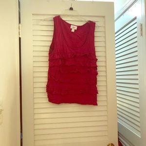Loft sleeveless raspberry ruffled shirt